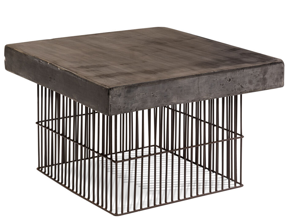 29 square coffee cocktail table black metal base thick concrete top industrial ebay. Black Bedroom Furniture Sets. Home Design Ideas