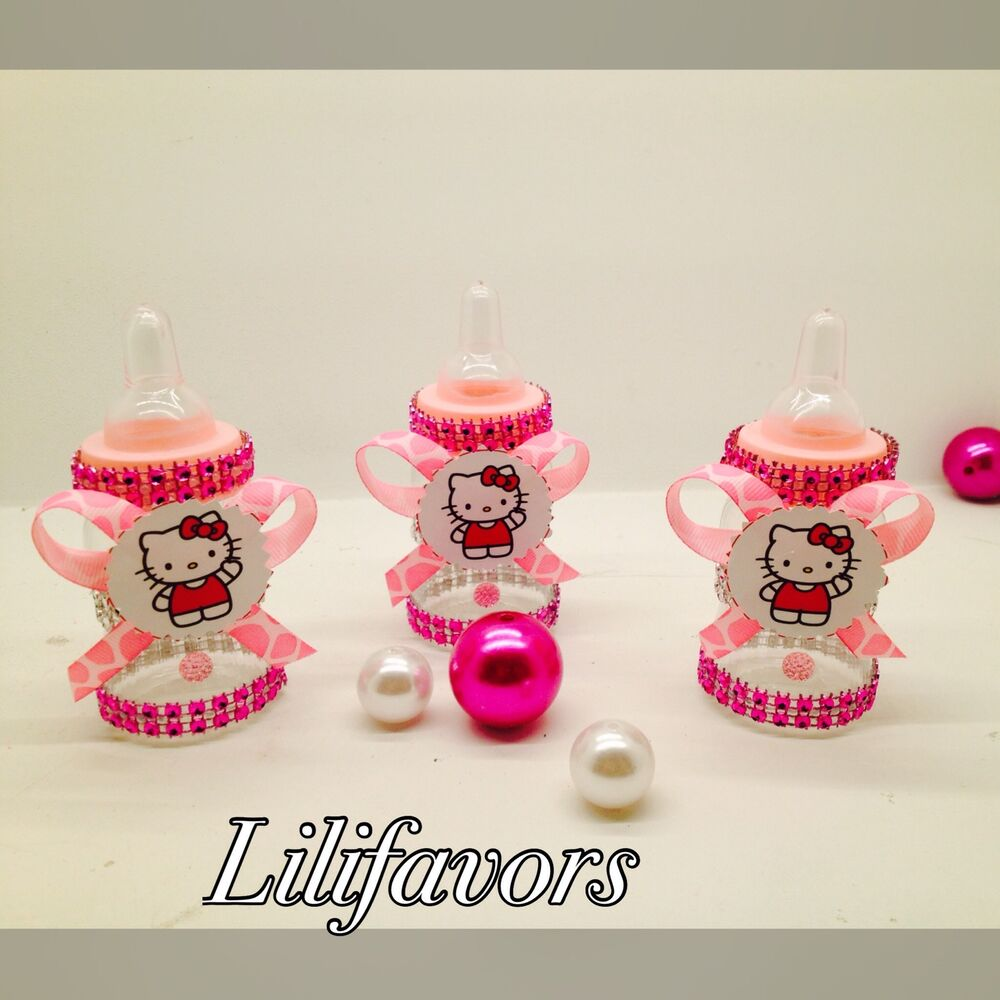 12 fillable baby girl shower bottles hello kitty pink for Baby shower favors decoration