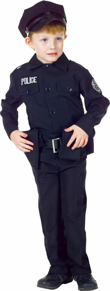 Morris costumes boys police man complete outfit black 10 12 ur25912lg ebay - Police officer child costume ...