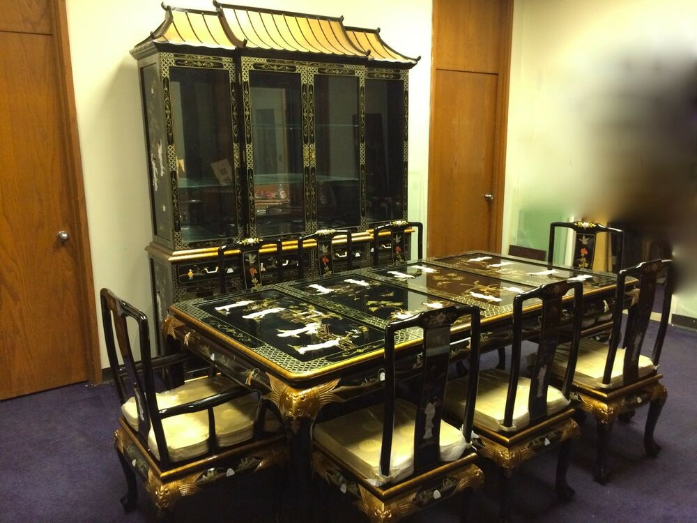 Oriental dining room set furniture black lacquer china for Black dining room furniture