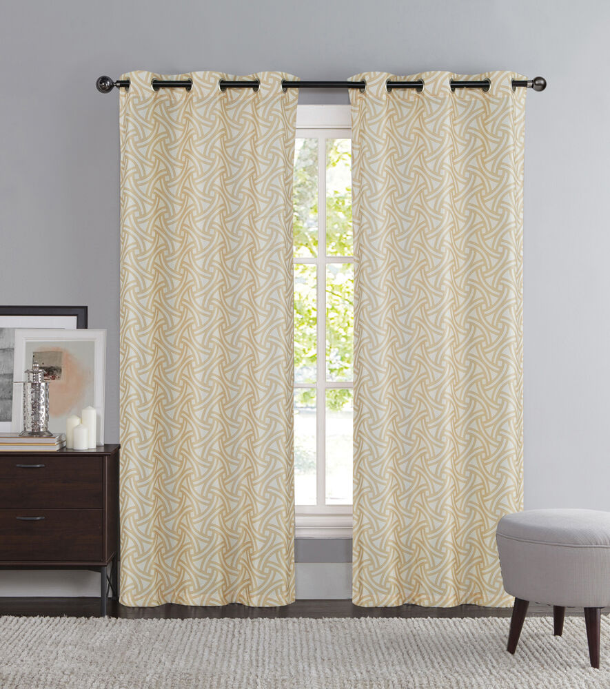 Taupe And Ivory Two Piece Window Curtain Panels Grommets
