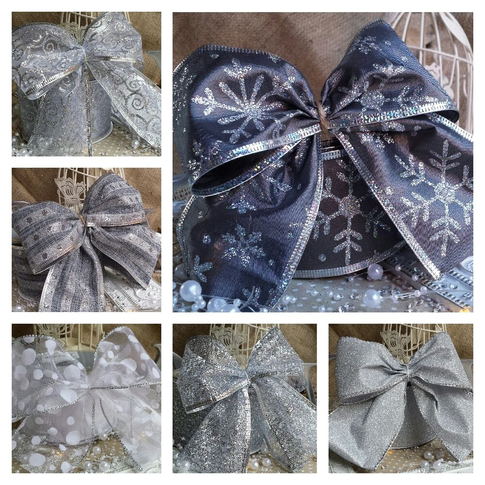 Christmas Tree Bows Decorations: Large Wired Silver Christmas Bow Ribbon Decoration Tree