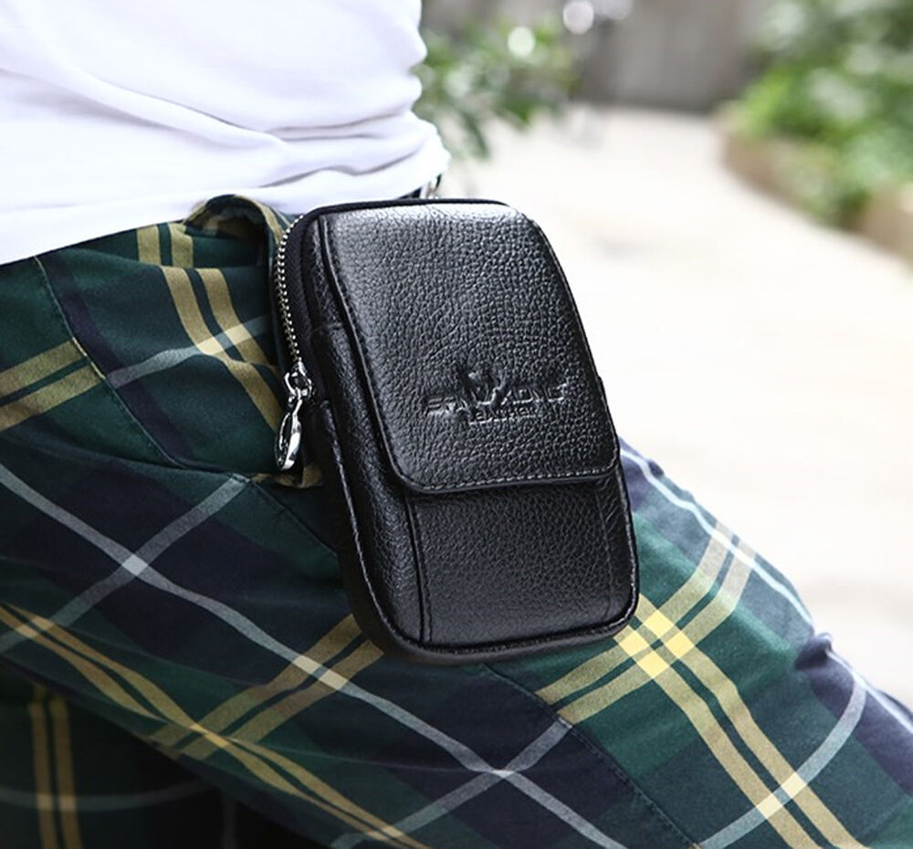 New Men Leather Hip Belt Pouch Purse Fanny Pack Cell Phone ...