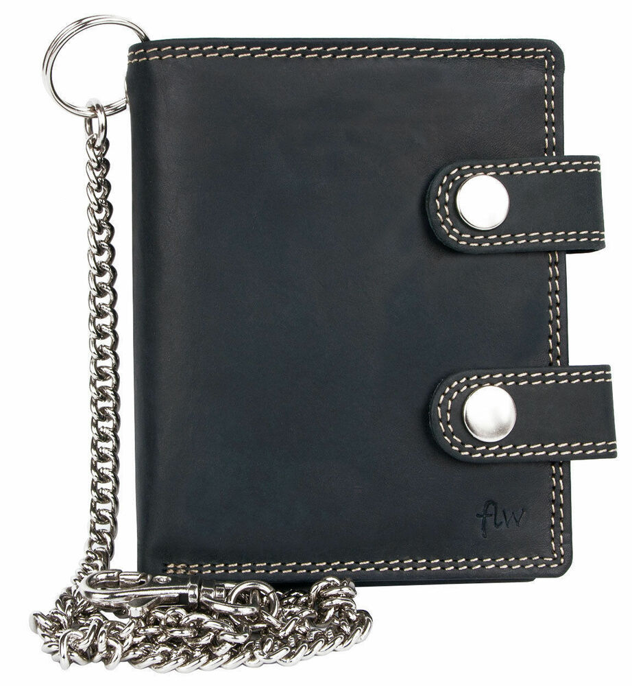 Men s grey genuine leather wallet metal with chain and two