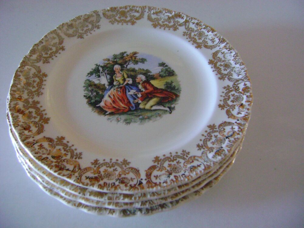 American China Dec Co Warranted 22k Gold Antique China Plates Set Of 4 Ebay
