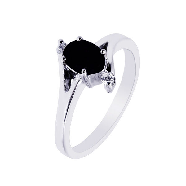 Diamonique cz black onyx wedding ring real anti tarnish for Anti wedding ring