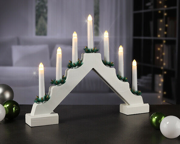 wooden pre lit candle bridge arch window christmas tree