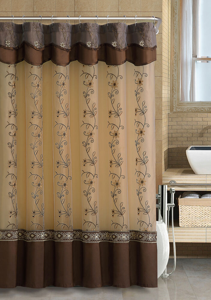 Chocolate Brown Two Layered Embroidered Fabric Shower Curtain Attached Valance Ebay