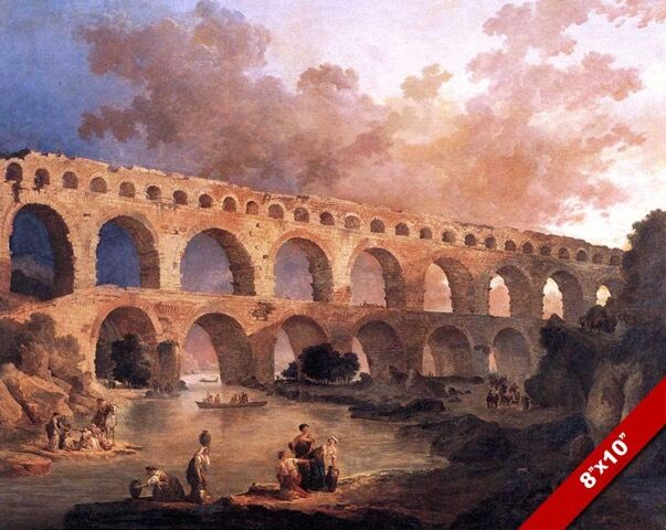 Ancient roman aqueduct le pont du gard france painting art for Pont du gard architecte