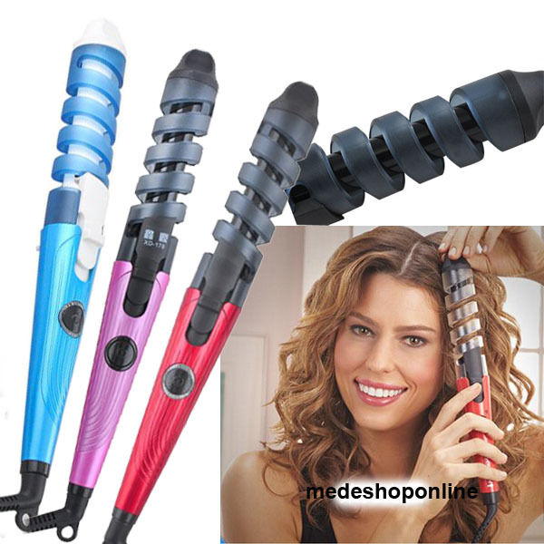 New Professional Hair Salon Spiral Ceramic Curling Iron