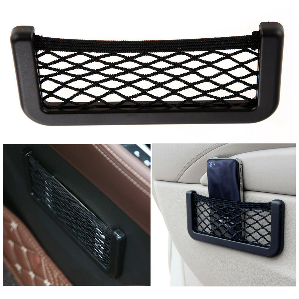universal car dash board net pouch storage mount holder for gps card cell phone ebay. Black Bedroom Furniture Sets. Home Design Ideas