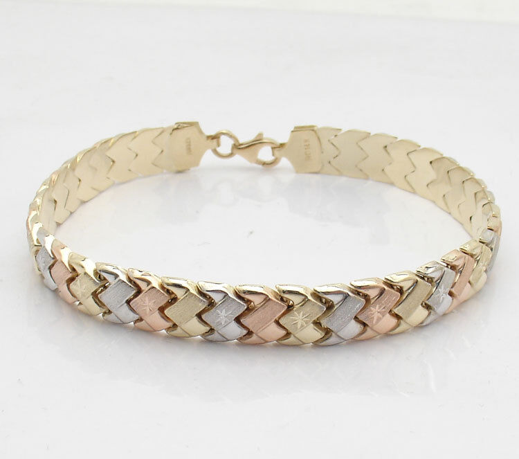 How To Basket Weave Bracelet : Diamond cut basket weave bracelet real k tricolor yellow