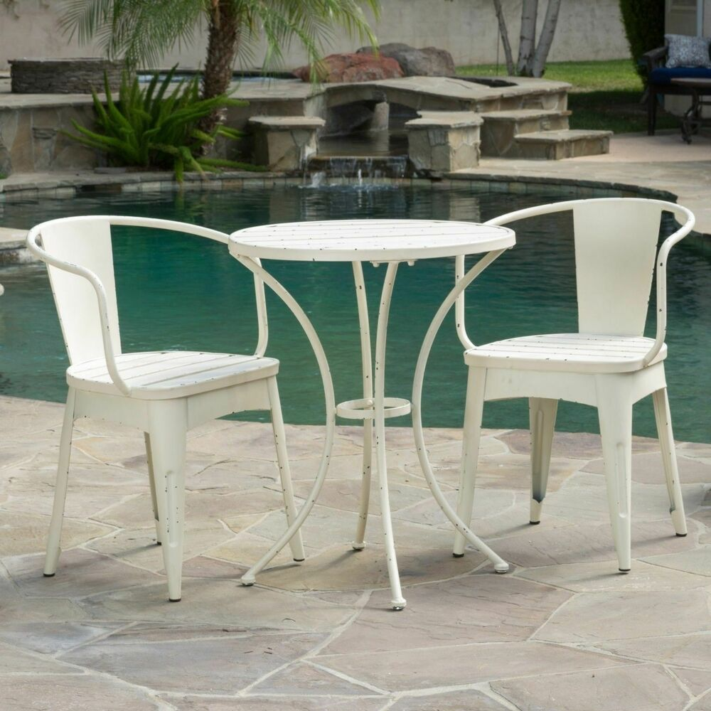 Rustic Modern Outdoor 3 Piece Off White Cast Bistro Set Ebay