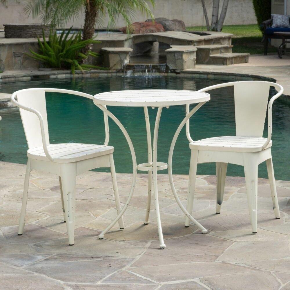 Rustic modern outdoor 3 piece off white cast bistro set ebay for Porch table and chair set