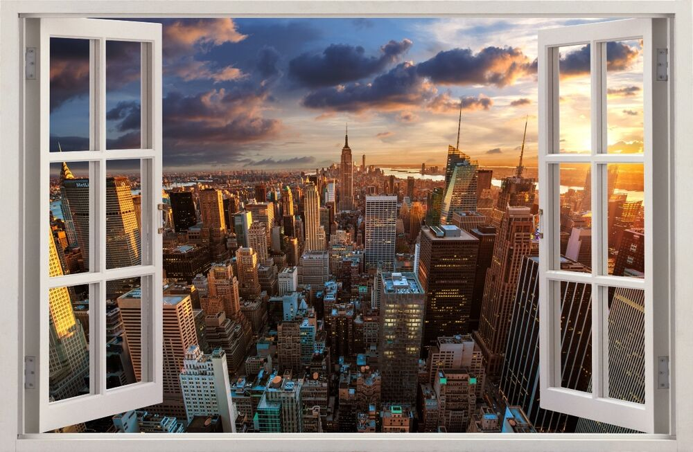 3d effect window wall stickers city new york sticker vinyl decal decor mural 31 ebay