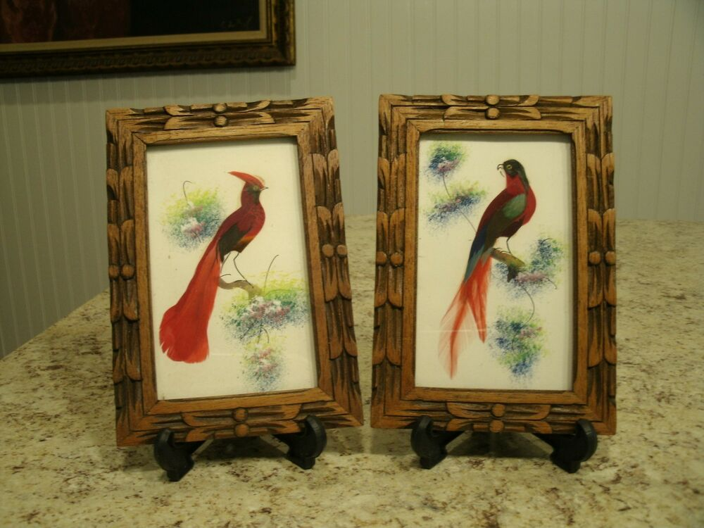 Unique Vintage Pair Of Hand Painted Feather Art Bird
