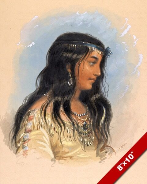 Beautiful Young Native American Indian Woman Girl Painting -8245