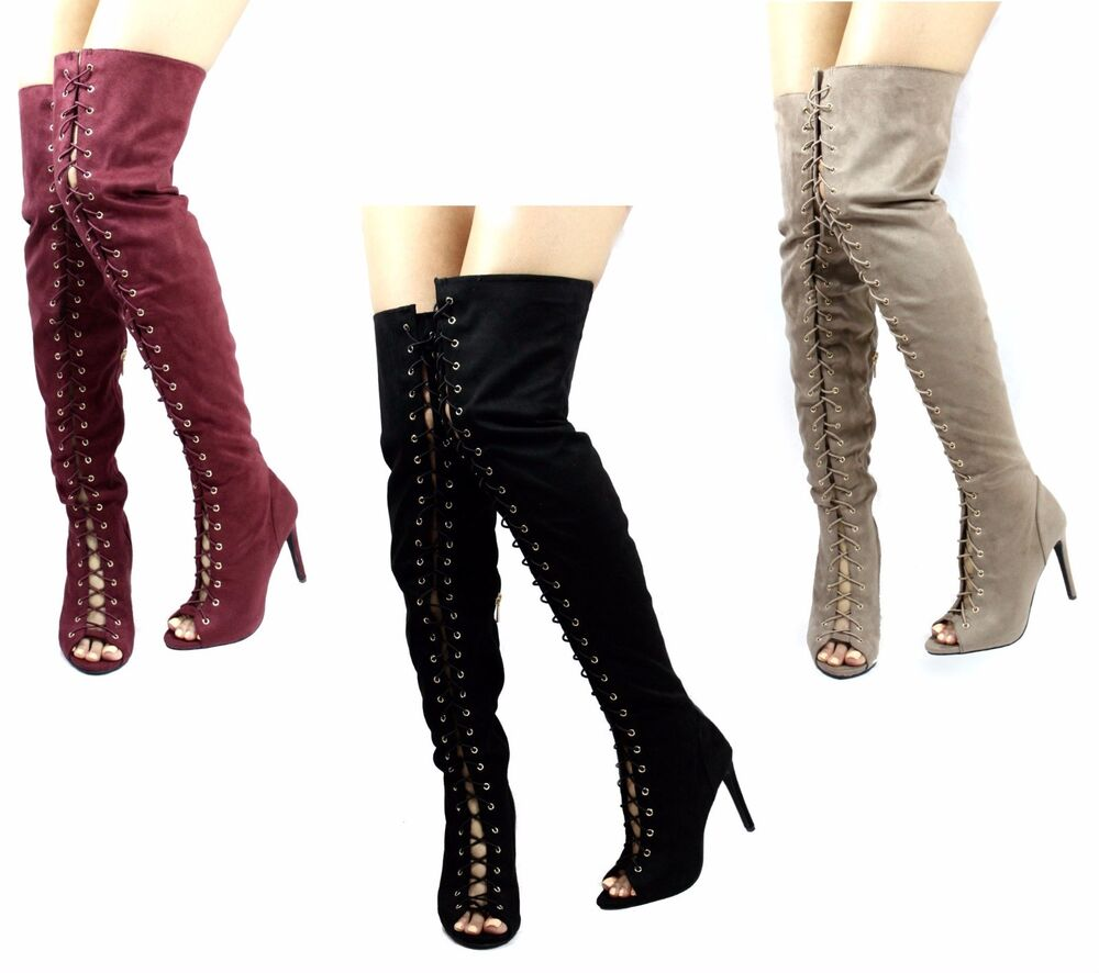 dollhouse shallow open toe lace up thigh high the
