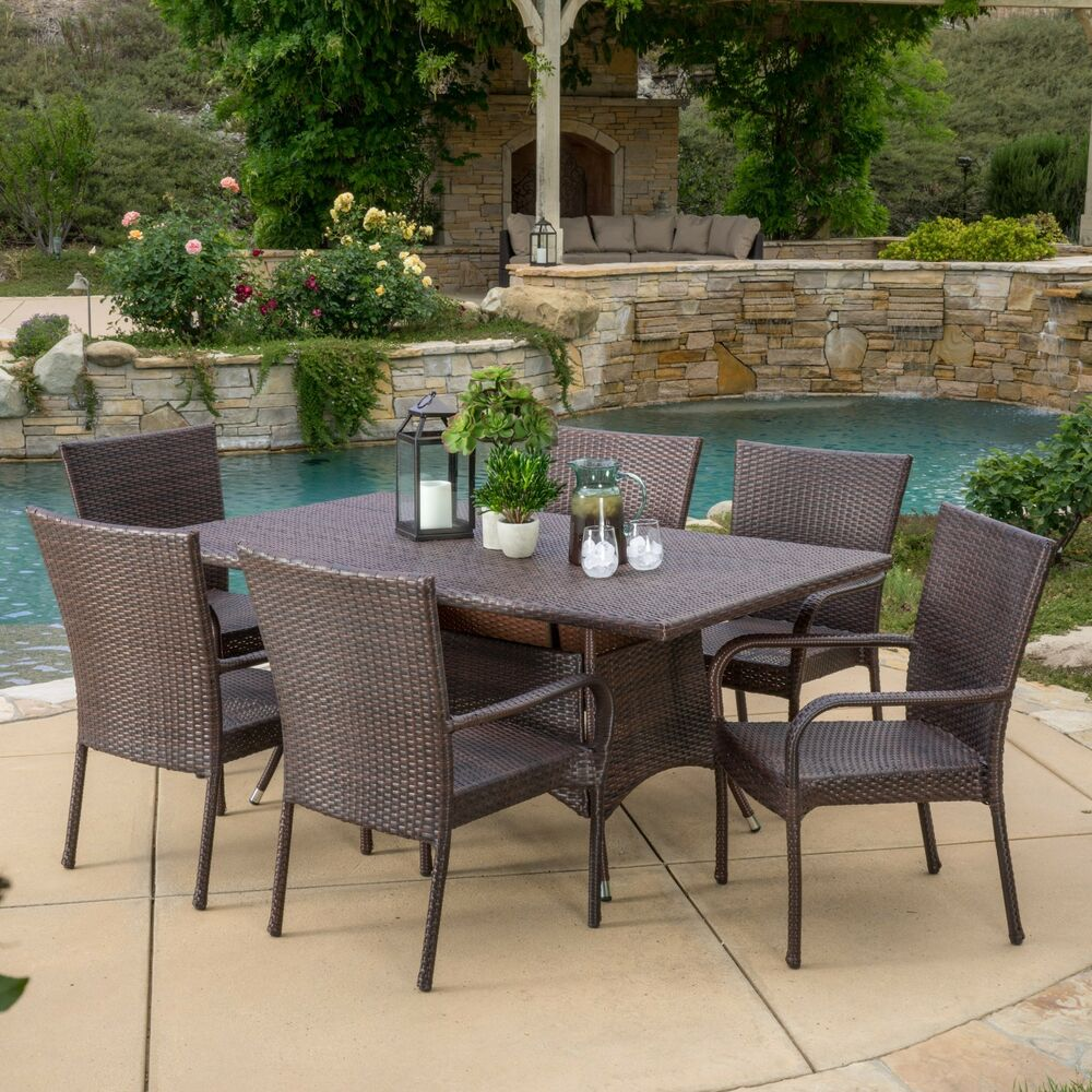 Outdoor patio furniture 7pc multibrown all weather wicker for Patio furniture sets