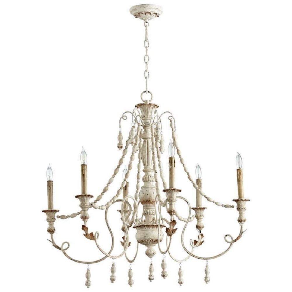 French Country Vintage Lyon Six Light Chandelier 06576