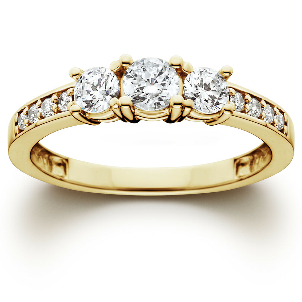 Stone Wedding Rings: 1 Ct 3-Stone Diamond Engagement Ring 10K Yellow Gold