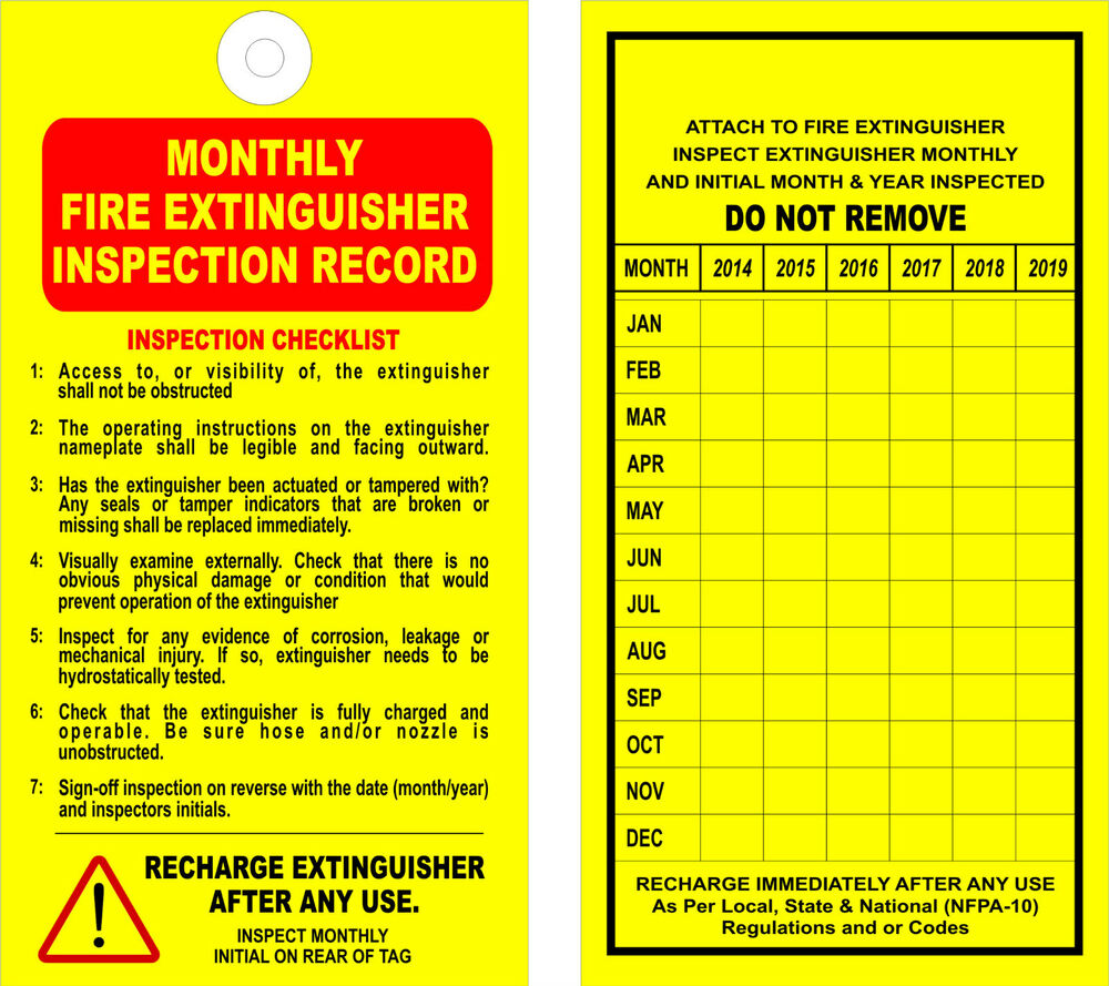 12 fire extinguisher monthly inspection tags valid for Fire extinguisher inspection tag template
