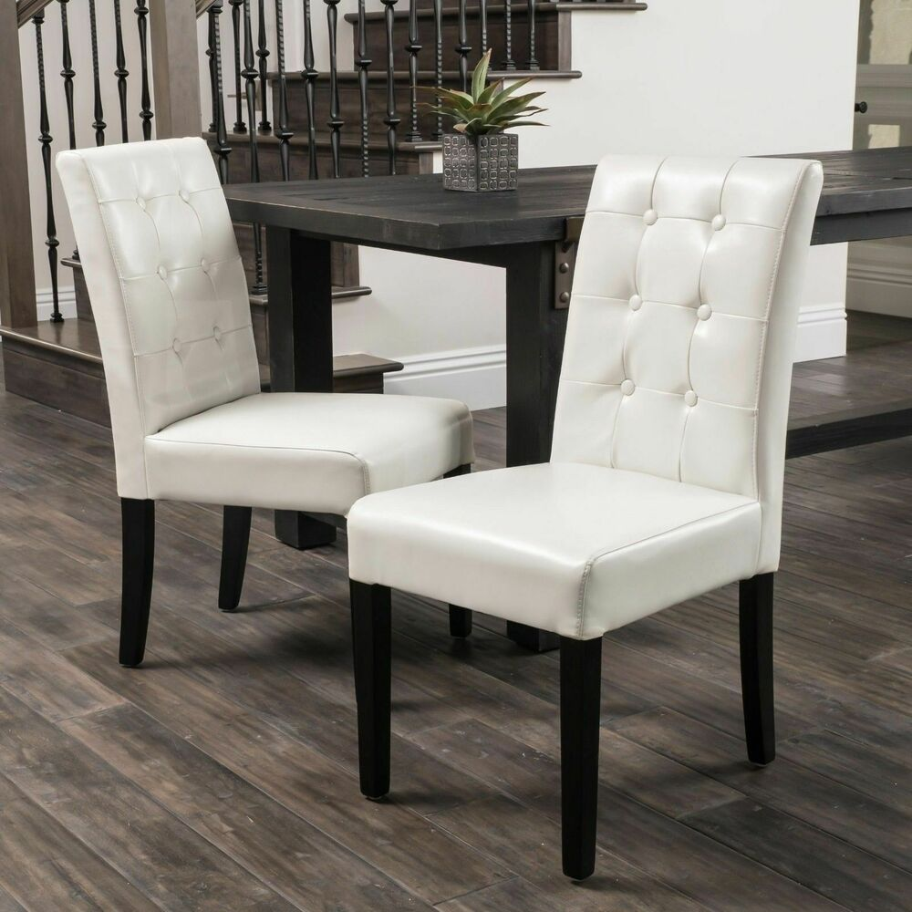 Set Of 2 Ivory Leather Dining Chairs W Tufted Button