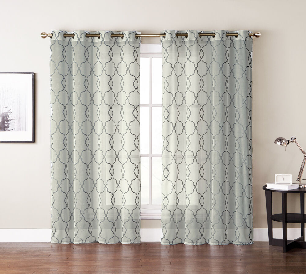 single 1 window curtain panel ivory beige sheer. Black Bedroom Furniture Sets. Home Design Ideas