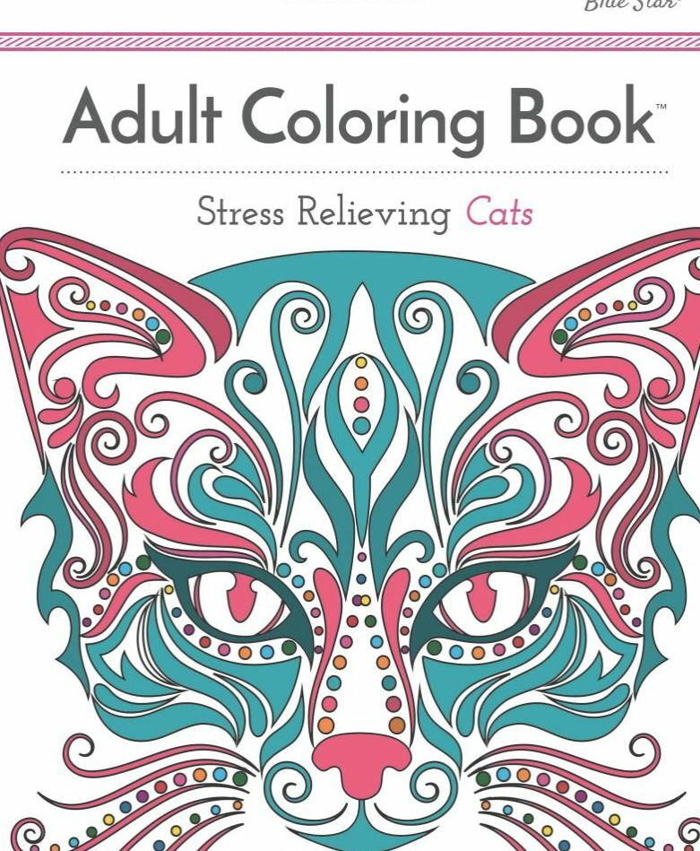 Stress Relieving Cats Adult Grown Up Coloring Book