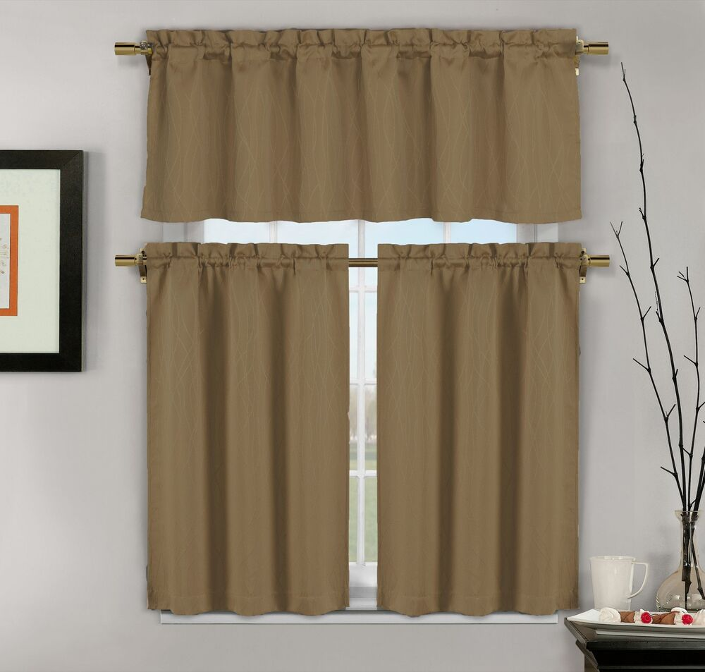 Kitchen Curtains And Valances: 3-Piece Mocha Brown Jacquard Kitchen Window Curtains: 1