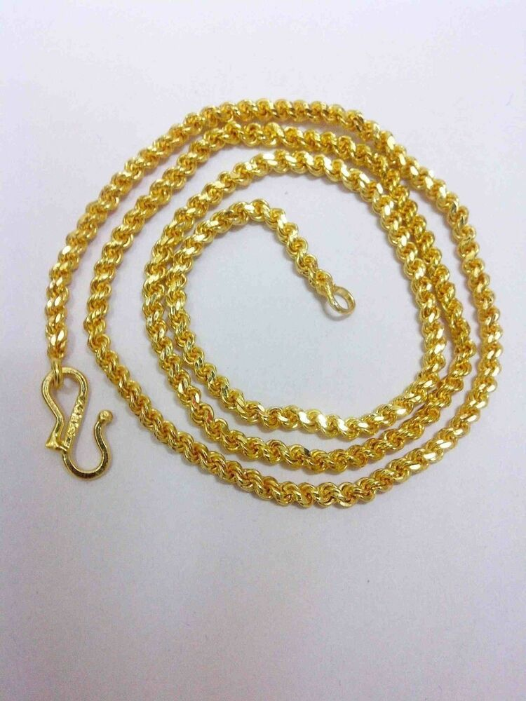 24k gold plated yellow solid jewelry 4mm harness rope. Black Bedroom Furniture Sets. Home Design Ideas
