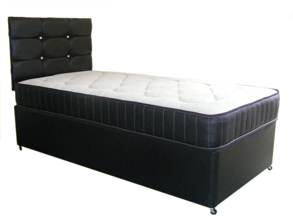4ft By 6ft Shorty Bed Black Faux Leather Divan Bed And Mattress Base Mattress Ebay