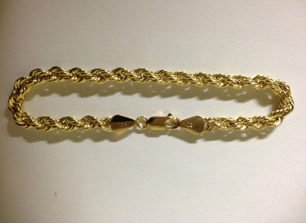 mens gold rope bracelet mens womens 10k yellow gold bracelet hollow rope chain 4mm 8444
