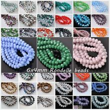 50pcs 6mm 5040# Rondelle Faceted Crystal Glass Loose Spacer Beads 114 Colors