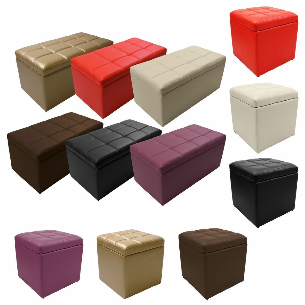 Unfold Leather Storage Ottoman Bench Footstool Seat