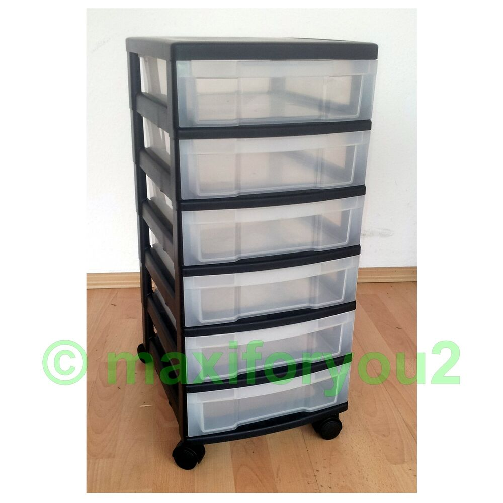 rollcontainer rollwagen schubladenschrank b roschrank mit 6 schubladen ebay. Black Bedroom Furniture Sets. Home Design Ideas