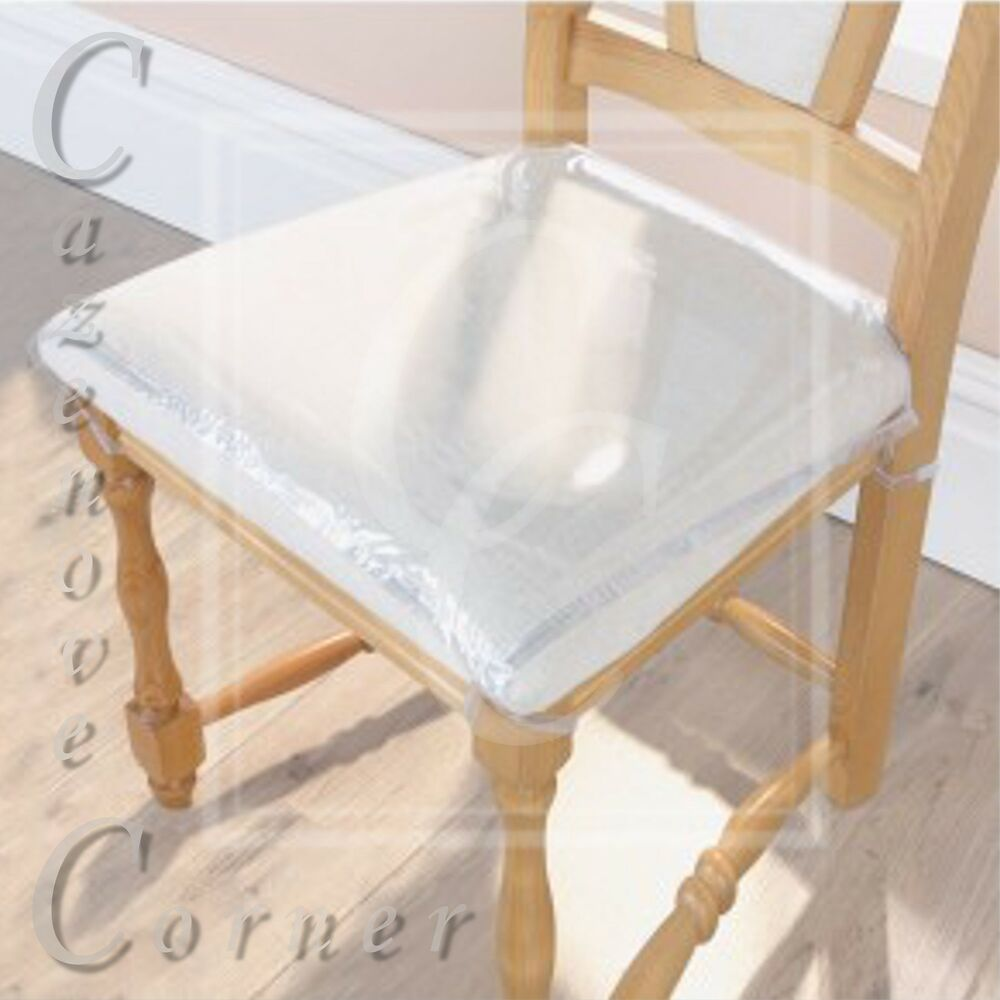 4pk Strong Dining Chair Protectors Clear Plastic Cushion Seat Covers Protection Ebay