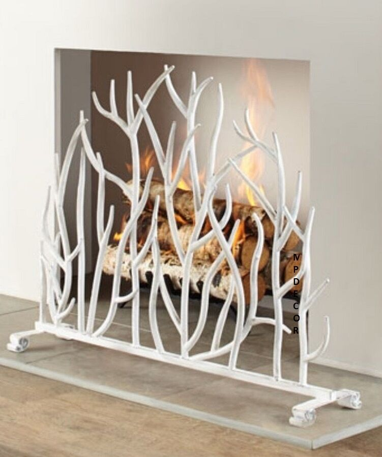 White Branch Fireplace Screen French Country Cottage Chic