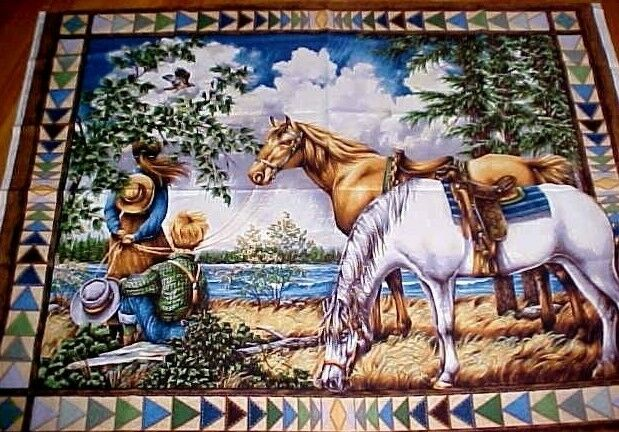 Horses fabric panel old west country scene children faux for Kids horse fabric