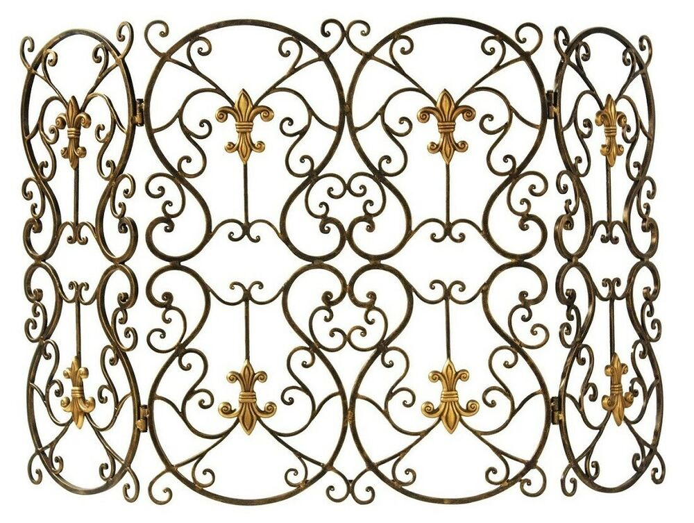 old world tuscany french fleur de lis fireplace screen brass