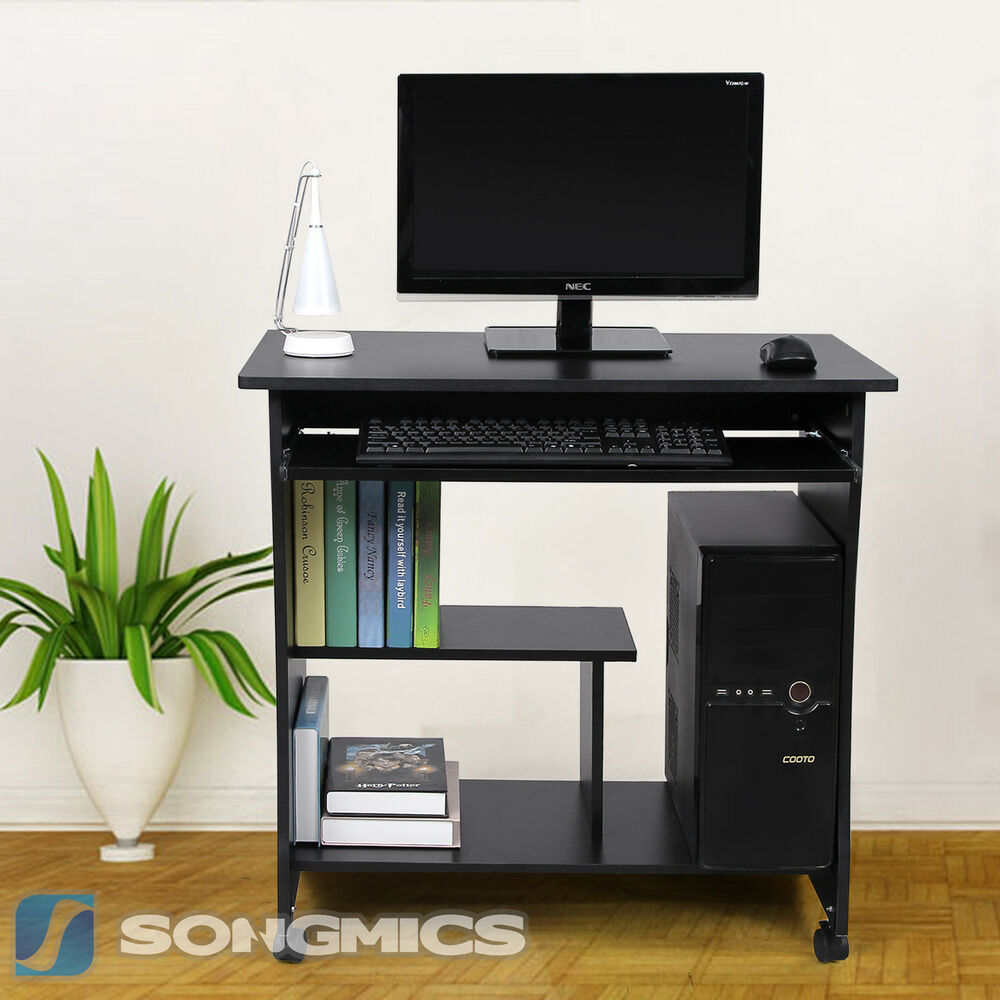 computertisch schreibtisch pc tisch b rotisch arbeitstisch b ro schwarz lcd858b ebay. Black Bedroom Furniture Sets. Home Design Ideas