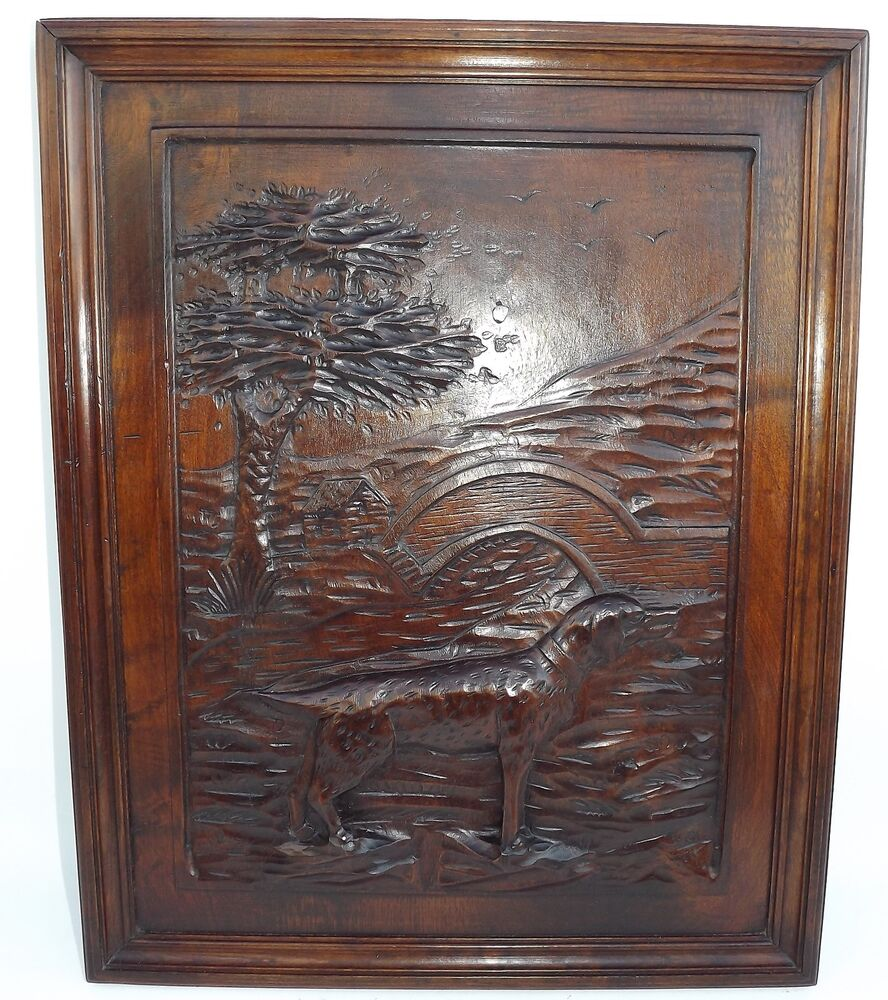 French black forest hand carved nut wooden panel picture