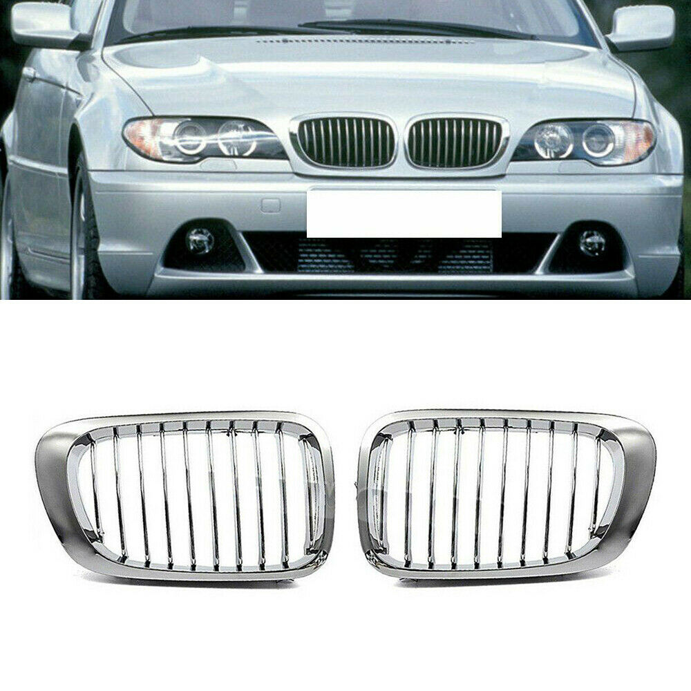 Fits 1999 2000 328i Bmw E46 2001 2006 2005 325ci E46: Chrome Kidney Grille For BMW 3 Series 2Door Coupe E46 1999