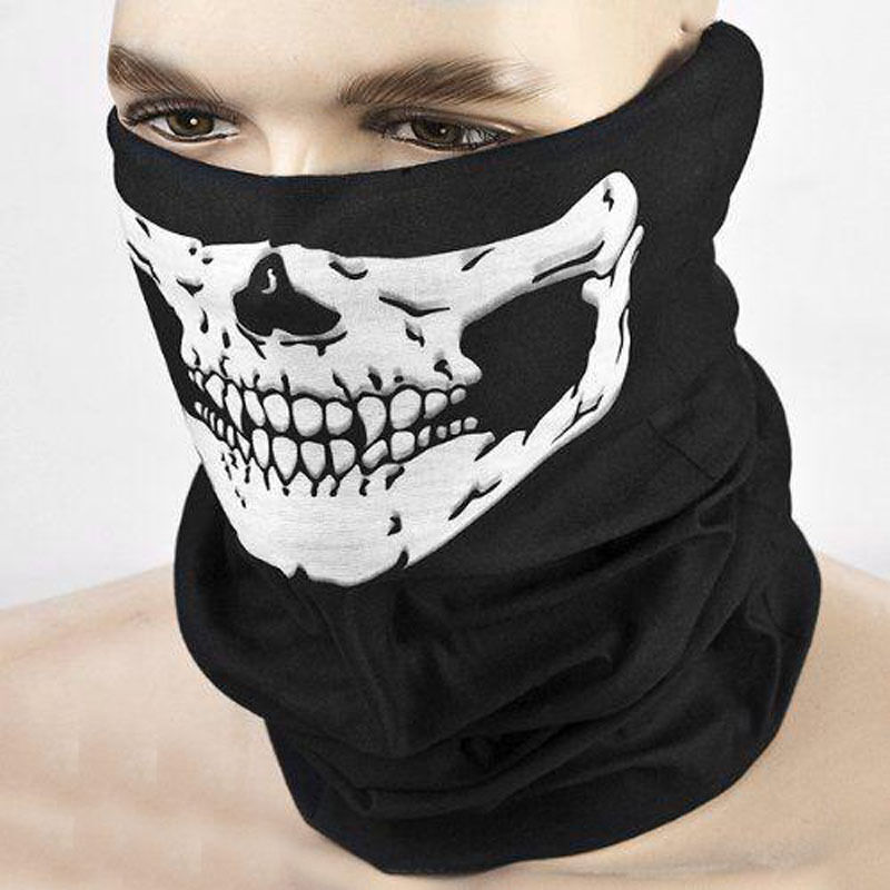 Face Mask: Men Unisex Black Skull Face Tube Mask Neck Gaiter Dust