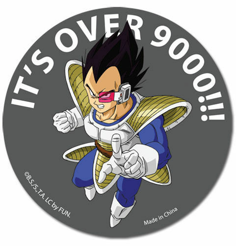 Dragon ball z vegeta its over 9000 sticker dbz officially licensed funimation 699858550395 ebay