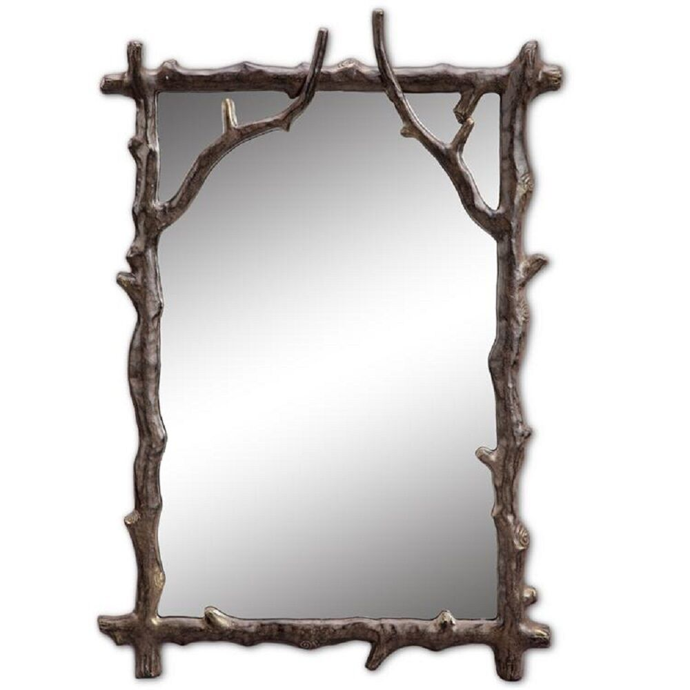 Branch decorative wall mirror rustic cabin lodge decor for Metal frame mirror