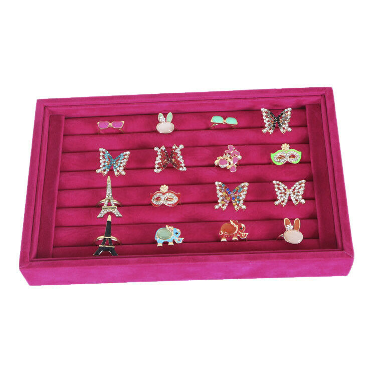 Wood ring earring tray box jewelry display holder case for Velvet jewelry organizer trays