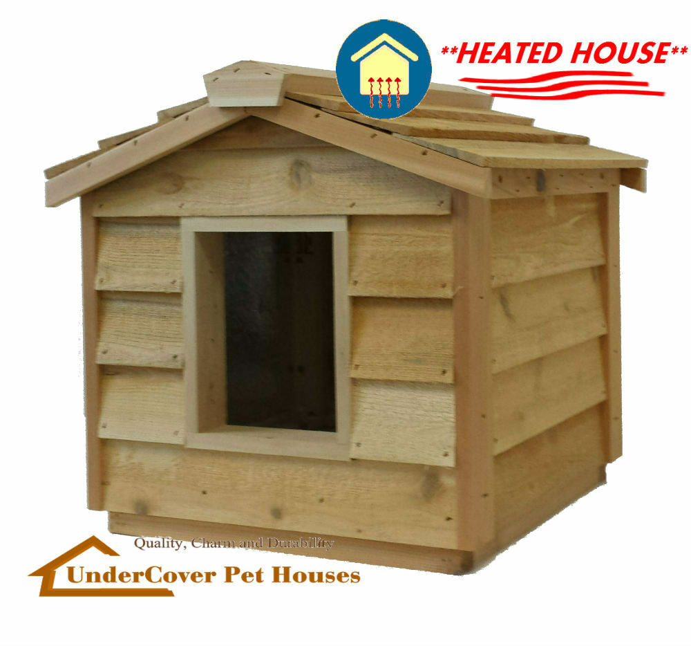 heated dog house heated insulated cedar outdoor cat house feral shelter pet 10431