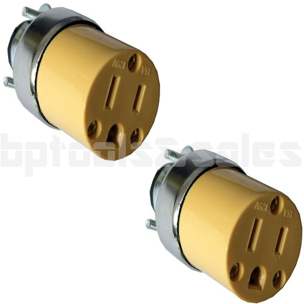 2pc female extension cord replacement electrical plugs. Black Bedroom Furniture Sets. Home Design Ideas