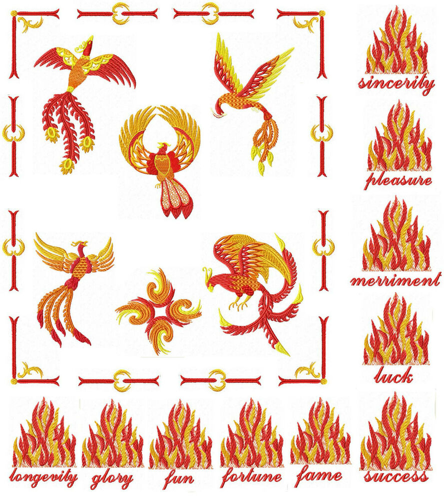 Feng shui fenix phoenix machine embroidery designs ebay